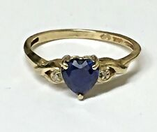 Vintage 10k Yellow Gold Dark Blue Sapphire Heart & Diamond Solitaire Ring Sz 5.5