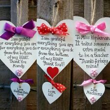 Teacher gift - Nursery -Personalised Handmade Wooden Heart- End of the year-pink