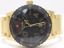 NEW Nixon Diplomat SS A277513 Black Dial Gold Tone Ion-Plated Band Men's Watch