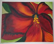 Red Flower Oil Painting on Canvas Singed Kattie Thompson