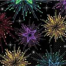 Midnight Marquee Fireworks New Year's Eve Holiday Party Paper Beverage Napkins