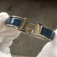 Hermès CLIC-CLAC H-Bracciale Bangle LOVE BLU BLEU Black Gold GM PM 6.2 pollici