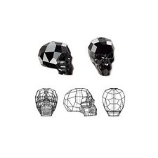 Swarovski Crystal Glass Beads Faceted Skull 5750 Jet 14x13x10mm