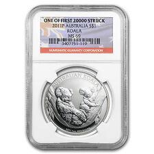 2011-P Australia 1 oz Silver Koala Ms-69 Ngc (First of 20,000) - Sku #64122
