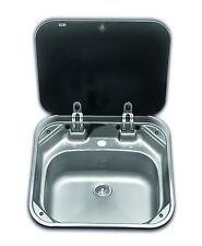 Boat Caravan Camper Sink with glass lid 420mm x 440mm  SMEV 8006    VA8006