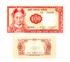 Set of 2 diff. South Vietnam 100 D. P-196 and 20 Xu P-R2 xf