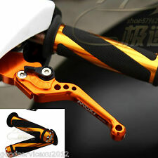 Golden Motorcycle CNC Racing Handle Bar Aluminum Rubber Gel Hand Grips Universal
