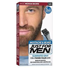 3 Pack - Just For Men Mustache and Beard Brush-In Color Gel, Medium Brown 1 Each