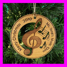 Personalized Custom Engraved Wood Christmas Music Ornament