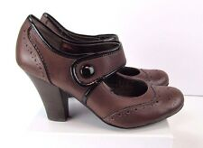Women's Sofft Size 8.5 Brown Leather High Heel Girly Mary Jane Dress Shoes Pumps
