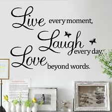 Quote Live every moment Laugh every day Love beyond Wall Sticker Decals Decor UK