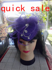 Wedding Party Carnival Races Feather Millinery Fascinator lady Hat Pink Purple