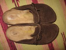 WOMENS 5 / 36 BIRKENSTOCK BROWN SUEDE LEATHER FLAT SLIP ON SHOES LOAFER MULES