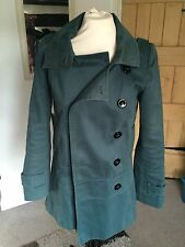 Beautiful Double-breasted Green Coat, Size 6-10 (Topshop)