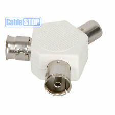 2 Way Coax TV AERIAL Cable Splitter 1 PLUG to 2 SOCKET Ariel Adapter WHITE PAL
