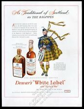 1946 Clan MacLeod tartan bagpipes piper Dewar's Scotch whisky vintage print ad