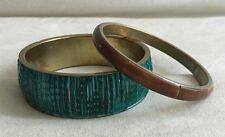 Lot of 2 Twos Company Bangle Chunky Bracelets - Made in India - Ethnic Bohemian