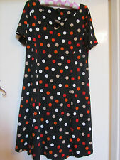 Short Stretchy Black & Multicoloured Spotted Lipsy Dress in Size 16