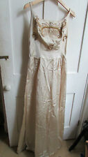 UNIQUE **MARJON COUTURE** UNFINISHED GOLD SILK 1950'S TRUE VINTAGE GOWN SIZE 10