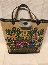 Enid Collins Vintage Flower Basket Bucket Tote Purse