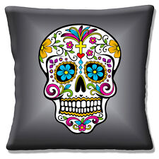 "Retro Kitsch Mexican Sugar Skull Day of the Dead Grey 16"" Pillow Cushion Cover"