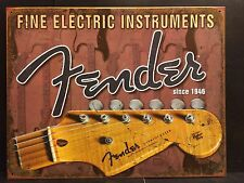 Fender Headstock  TIN SIGN Guitar Poster Vtg Metal Wall Decor Stratocaster