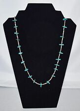 LOVELY NAVAJO STYLE TURQUOISE AND PEN SHELL HEISHI NECKLACE 27""
