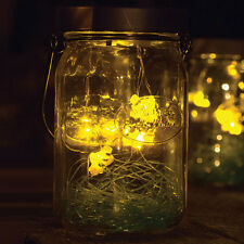 NEW Solar Firefly LED Glass Lantern - Flickering Lightning Bug Mason Jar Light