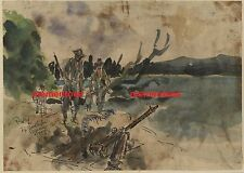 Tony Rafty Watercolour WWII 1944 Japanese Woodpecker Machine Gun New Guinea
