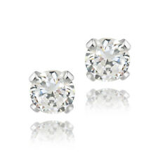 1/2ct CZ .925 Sterling Silver Stud Earrings, 4mm