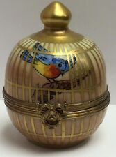 RARE & Beautiful GR Hand Painted Limoges Birdcage Trinket Box