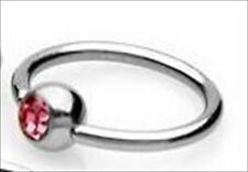 "Gem Captive Bead Ring 16g 3/8"" Lip Tragus Ear Pink CZ"