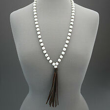White Pearl Beaded Long Bohemian Style Brown Leather Tassels Necklace