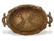 Messing Schale mit Laub-Relief u Geäst, rückseitig Signiert Teller Platte Schale