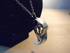 "SABRE TOOTH CAT SKULL necklace UNIQUE PENDANT 30"" silver chain GOTHIC JEWELLERY"