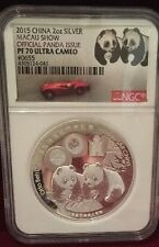 2015 China 2oz Silver Official Panda Issue Macau Show NGC PF70 Ultra cameo
