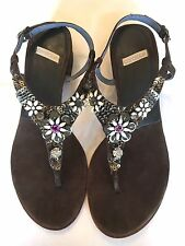 NeW ANTHROPOLOGIE Coralblue 7-7.5 Leather Rhinestone Metal Thong Flat Sandals