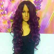 Ombre Dark Roots to two shades of purple Wig Synthetic heat resistant curly.