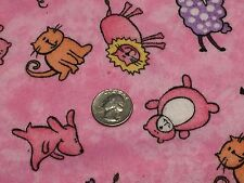 Fabric Baby Animals Happy on Pink Flannel by the 1/4 yard BIN