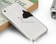 Black Cat Kiss Butterfly Soft Case Skin Shell Back Cover for Apple iPhone 5