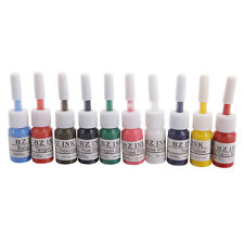 New 10Pcs Color Tattoo Inks Set 0.2oz 5ML Pigment Kit for Body Art