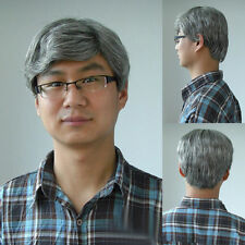 Cosplay Old Man Wig Short Silver Gray Natural Synthetic Hair Father Uncle Wig