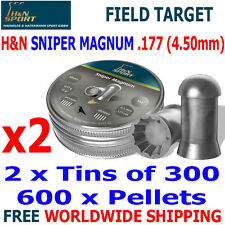 H&N SNIPER MAGNUM .177 4.50mm Airgun Pellets 2(tins)x300pcs FIELD TARGET