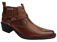 US Brass Mens Cowboy American Original Retro Ankle Slip On Boots Cuban Heel New