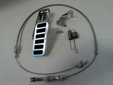 BILLET ALUMINUM 6 PAD GAS PEDAL / STAINLESS THROTTLE CABLE / BRACKET SPRING KIT