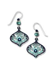 ADAJIO by Sienna Sky Indigo & Aqua Art Deco Teardrop Silver Hook Earrings 7754