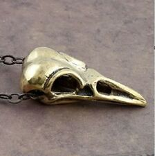 Vintage Bird Skull Necklace New Pendant Chain Goth Metal Raven Crow Retro