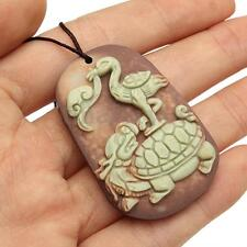 Chinese ZiPaoYu Purple Jade Carved Turtle Crane Lucky Pendant With Rope Necklace