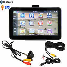 "7"" Auto Car Bluetooth 4GB GPS Mirror Navigation+Reverse RearView Backup Camera"