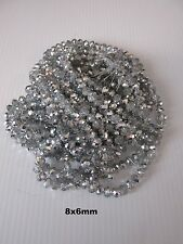 72pcs 8x6mm electroplate silver/clear faceted rondelle glass loose beads UK